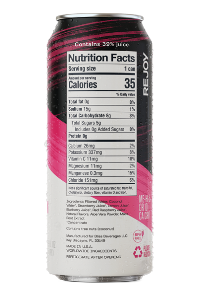 REJOY Mixed Berries & Maca is formulated with 9 plant-based ingredients = Strawberry, Blueberry, Raspberry, Lemon, Coconut Water, Aloe Vera, Coconut Water, Maca and Water. It's low-calorie and thanks to Coconut water also high in plant-based electrolytes. Charged with natural energy from Maca, our plant-powered hydration replenishes everything an athlete needs